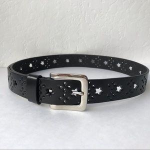 Black Laser Cut Bonded Leather Belt